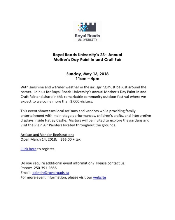 Royal Roads University's 23rd Annual Mother's Day Paint In and Craft Fair Vendor Registration